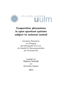 Cooperative phenomena in open quantum systems subject to external ...